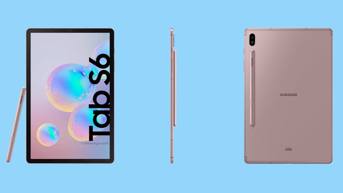 Samsung Galaxy Tab S6 Shows Up in New Leaked Renders, Leaves Nothing to Imagination