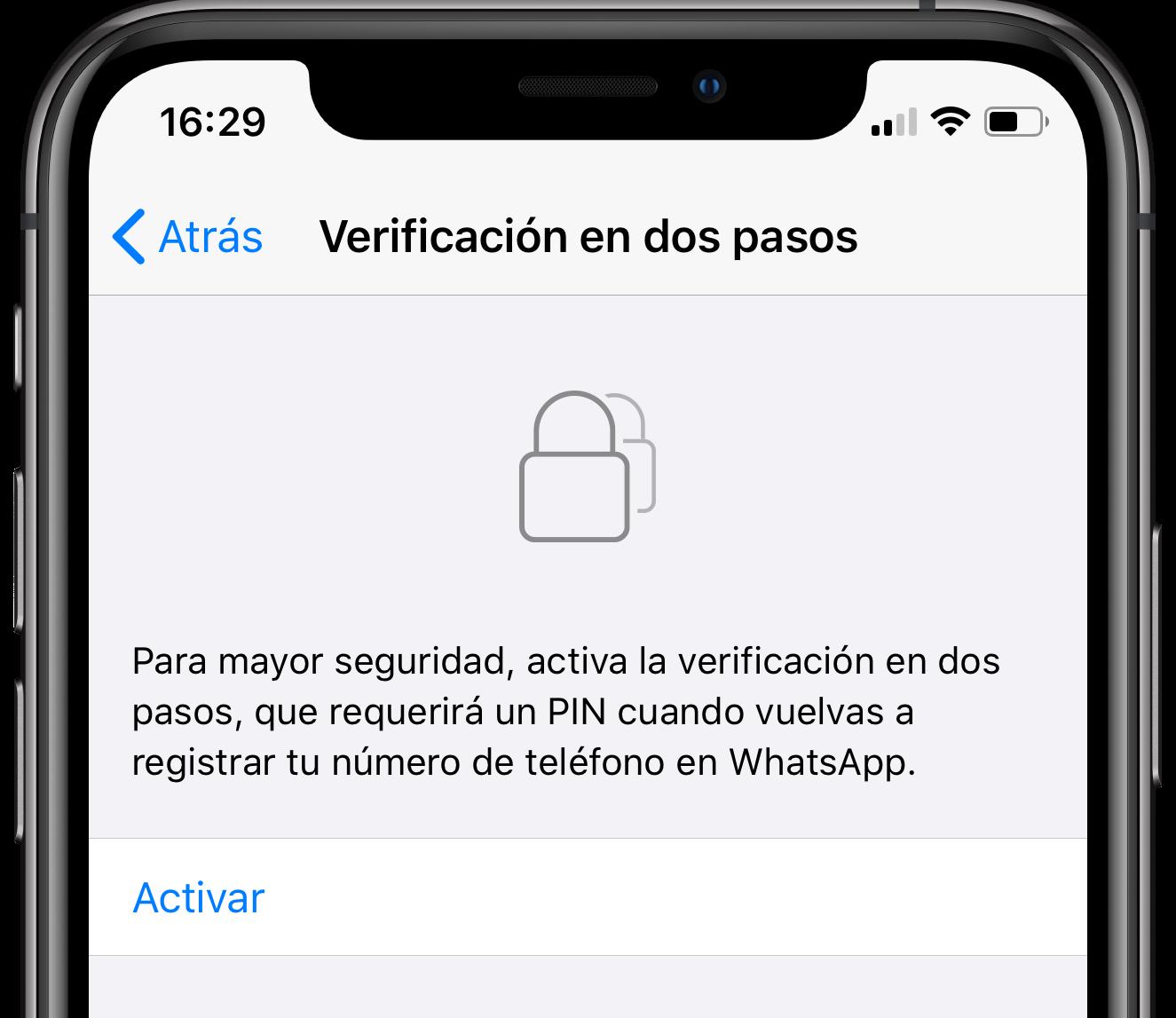 проверьте два шага WhatsApp