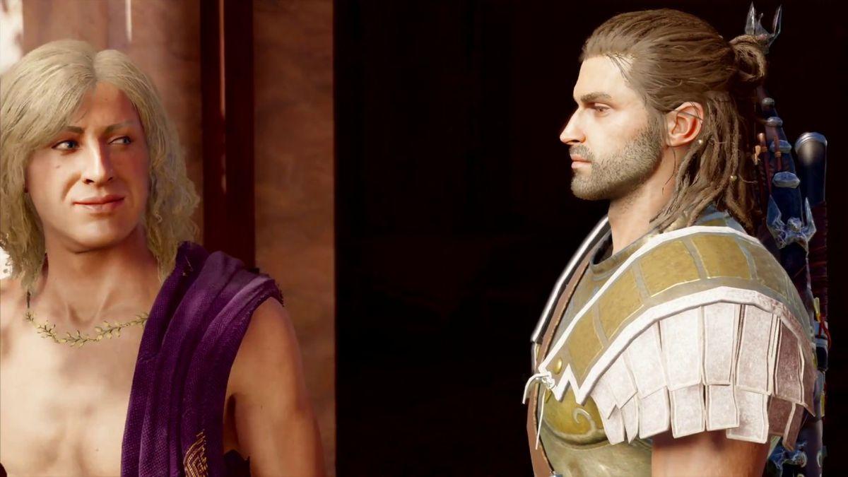 Два персонажа из Assassin's Creed Odyssey смотрят друг другу в уголки глаз