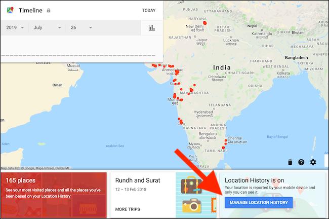 Нажмите кнопку «Управление историей местоположений» на странице шкалы времени Google Maps.