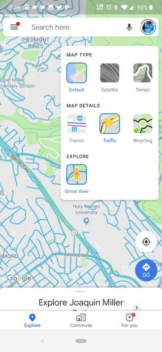 Карты Google на Android теперь имеют слой Street View 1