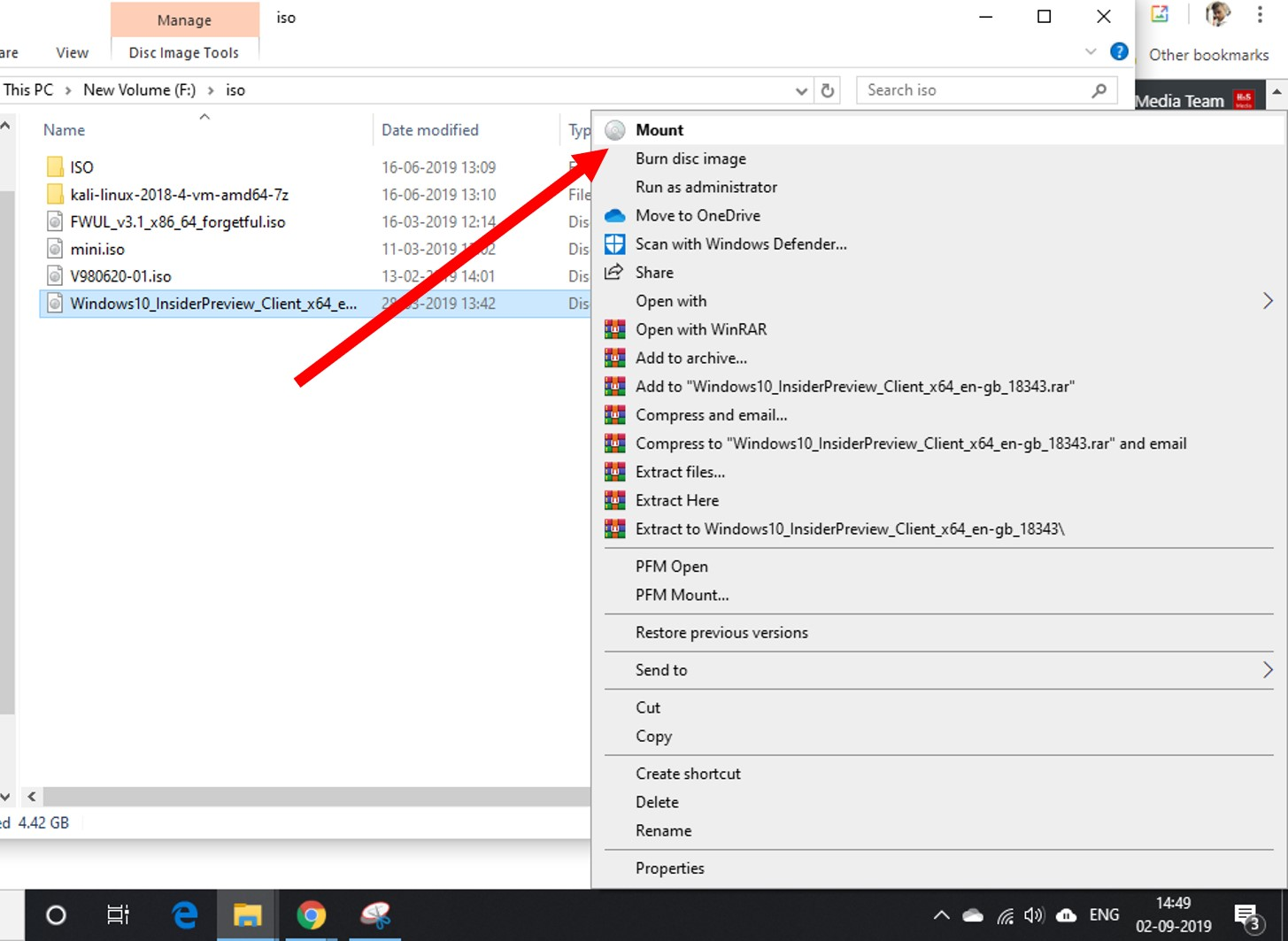 Right-click on any ISO image on Windows 10