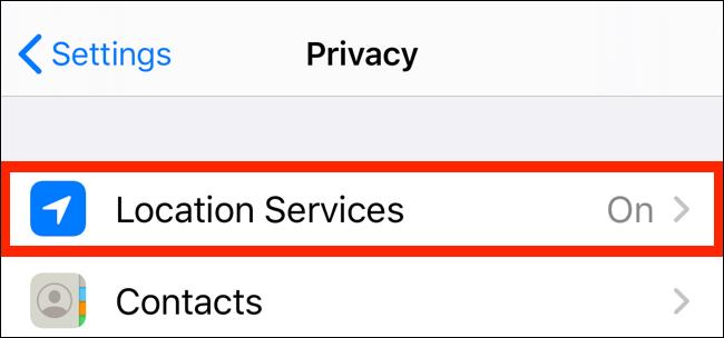 Нажмите на Услуги определения местоположения из приложения конфиденциальности
