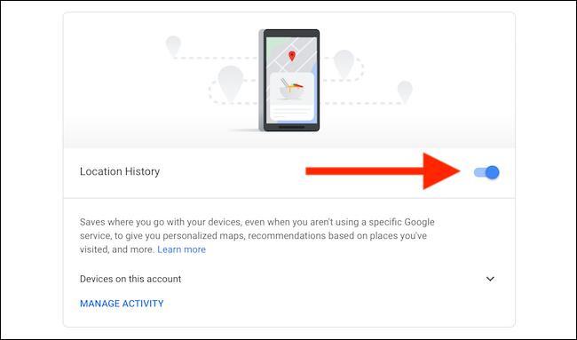 Отключить историю местоположений для карт Google