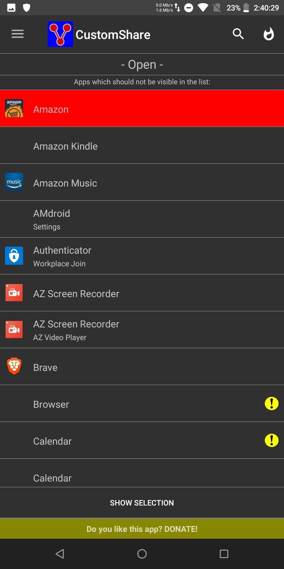 Как очистить Android-загроможденное меню Share
