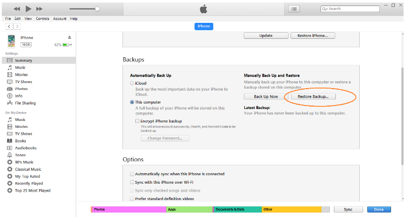 Восстановление истории звонков FaceTime из iTunes