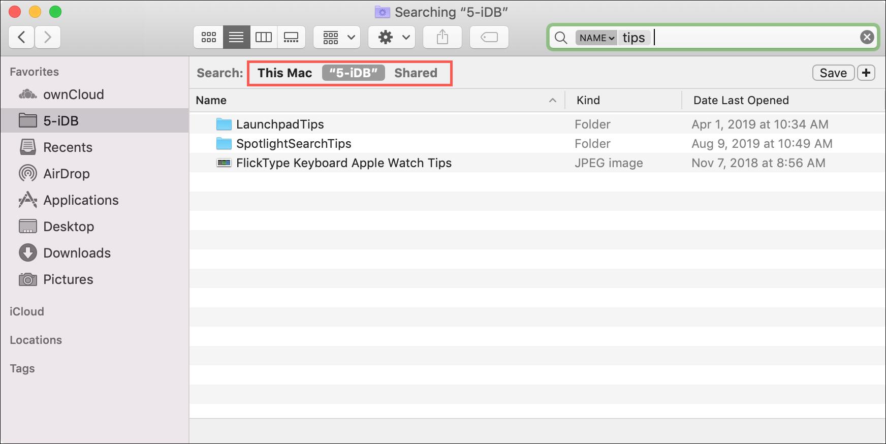 Параметры поиска Finder Mac