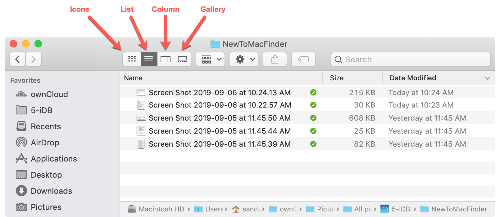 Кнопки просмотра Finder Mac