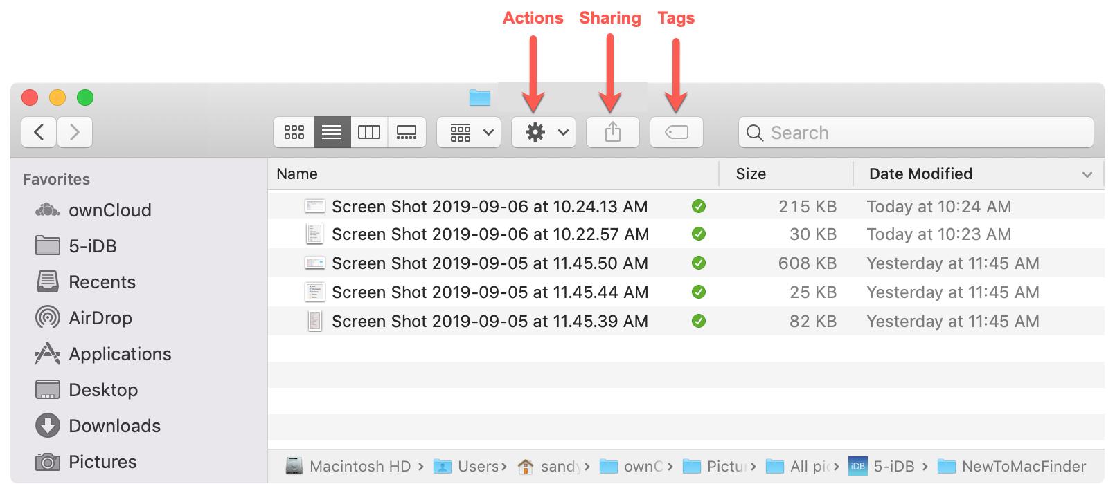 Кнопки действий Finder Mac