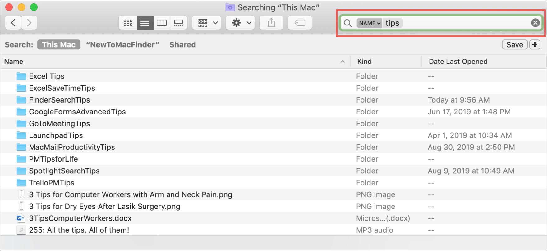 Окно поиска Finder Mac