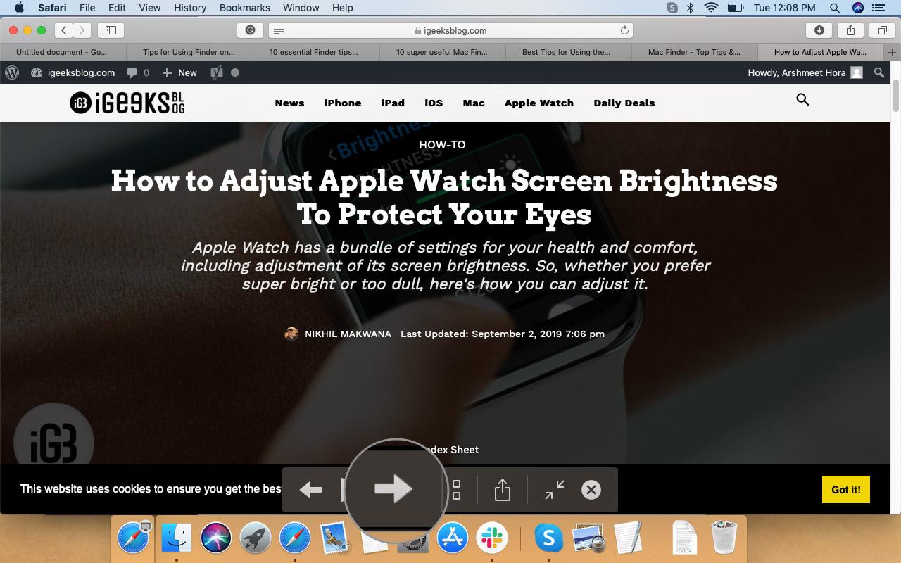 Нажмите на стрелку, чтобы изменить файлы в macOS Finder
