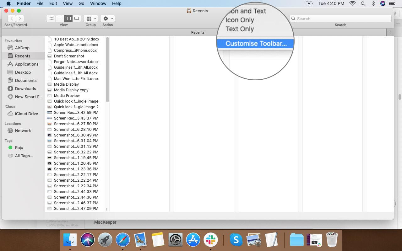 Щелкните правой кнопкой мыши на панели инструментов Finder и выберите «Настройка параметров в Mac».