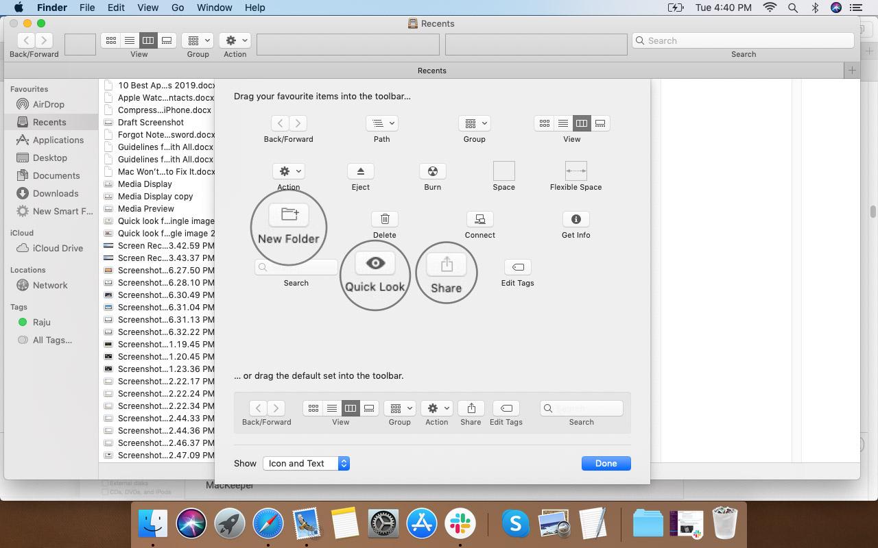 Выберите «Параметры», чтобы добавить его на панель инструментов Finder в macOS