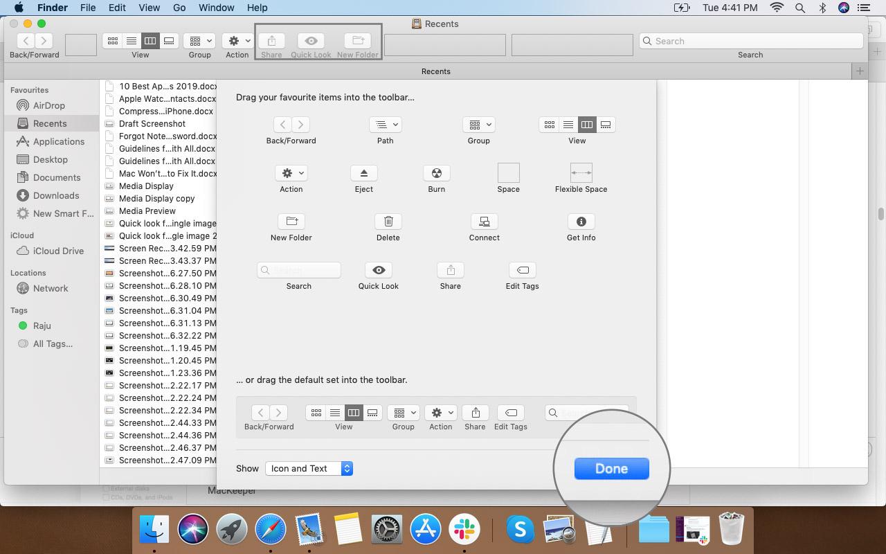 Нажмите «Готово», чтобы сохранить параметры на панели инструментов Finder на Mac.