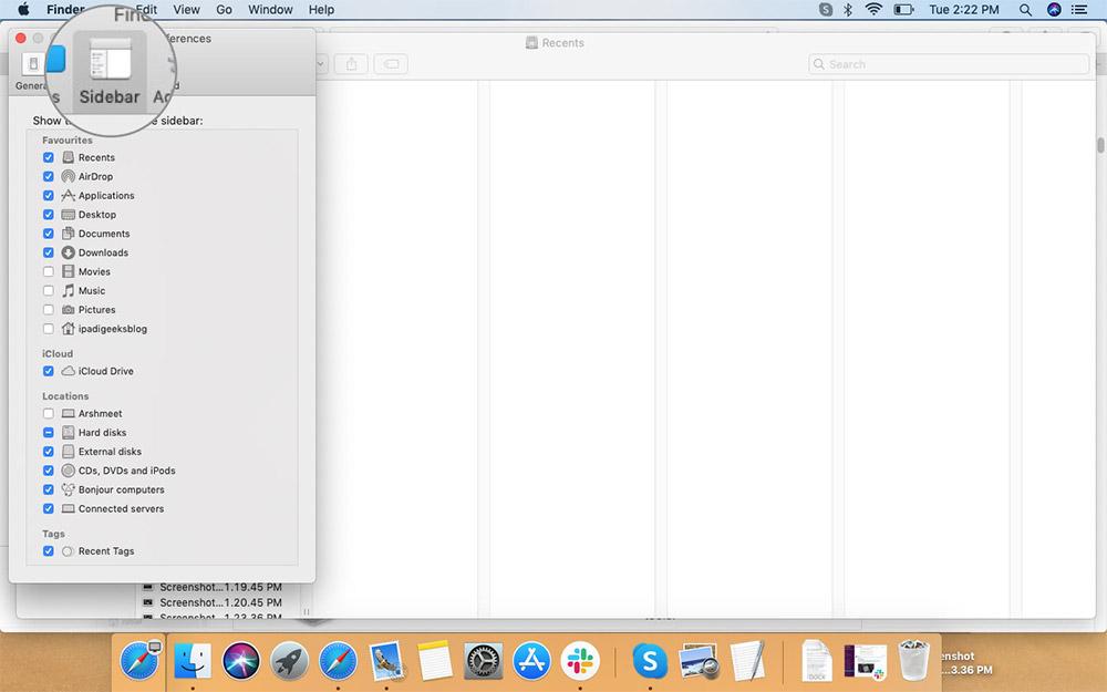 Выберите «Боковая панель» в «Настройках» в меню Finder на Mac