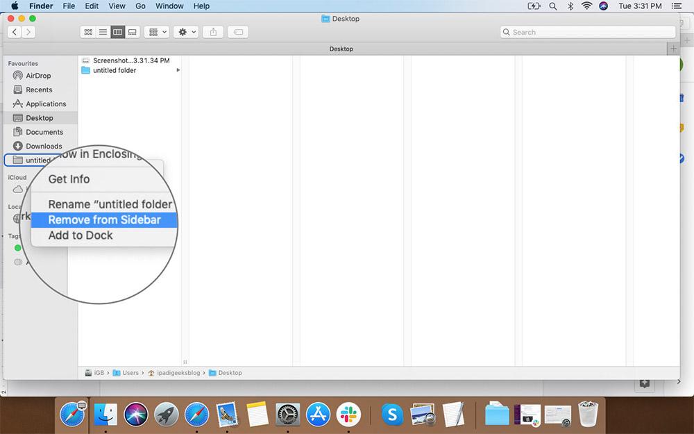Щелкните правой кнопкой мыши на Floders, чтобы удалить из боковой панели Finder в Mac