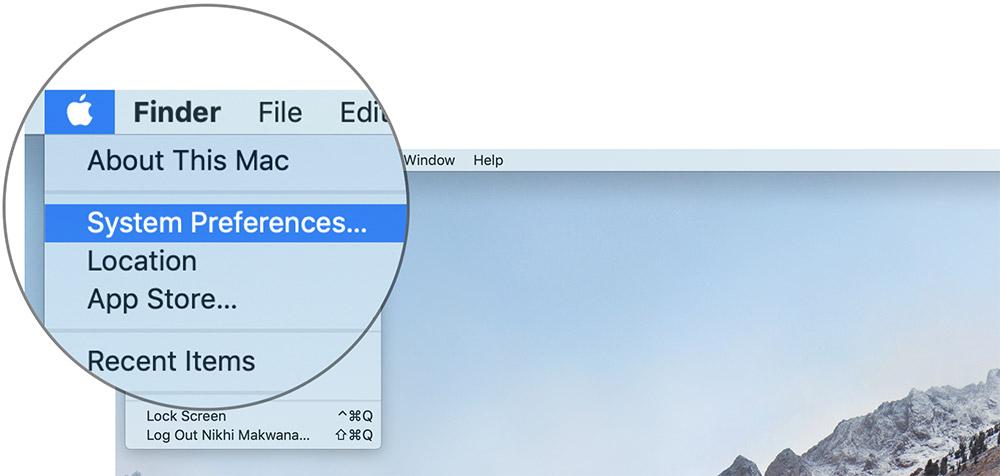 Нажмите на Системные настройки на Mac