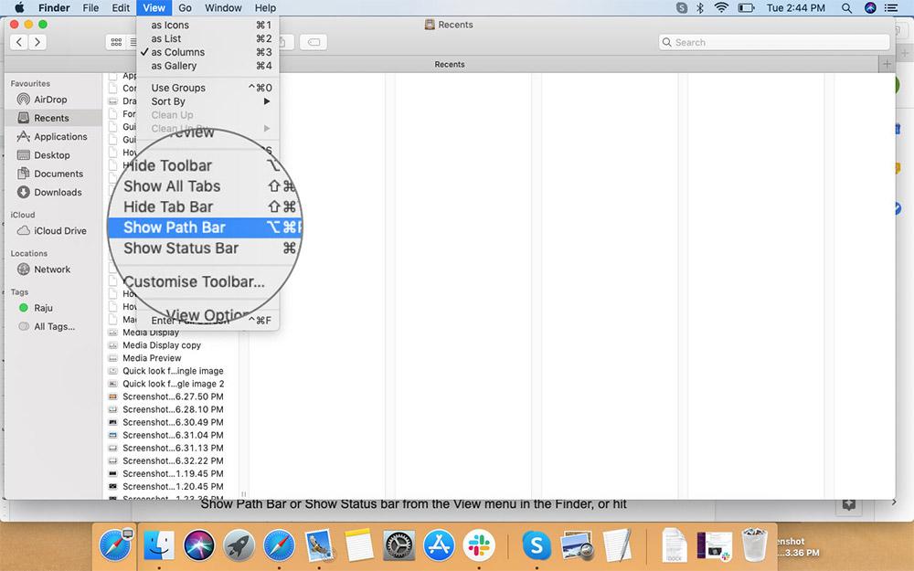 Добавить панель пути к окну Finder в Mac