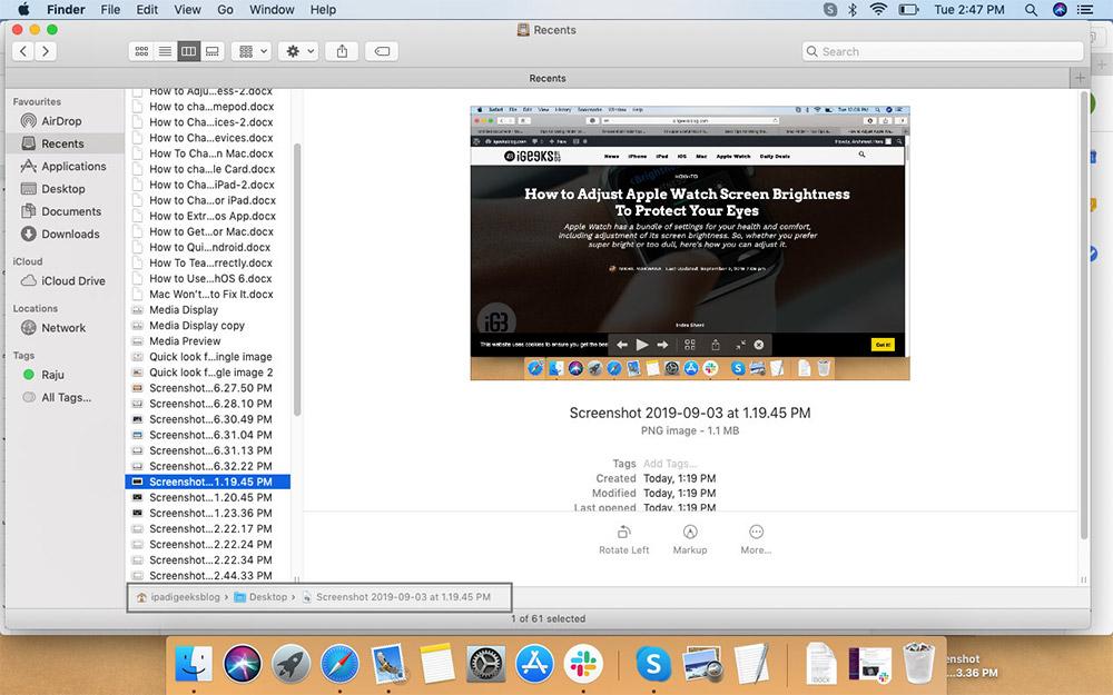 Просмотр пути к папке в окне Finder на Mac