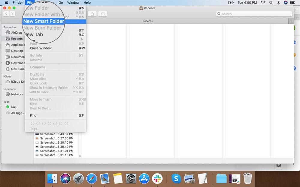 Выберите «Новая смарт-папка» в меню «Файл Finder» на Mac