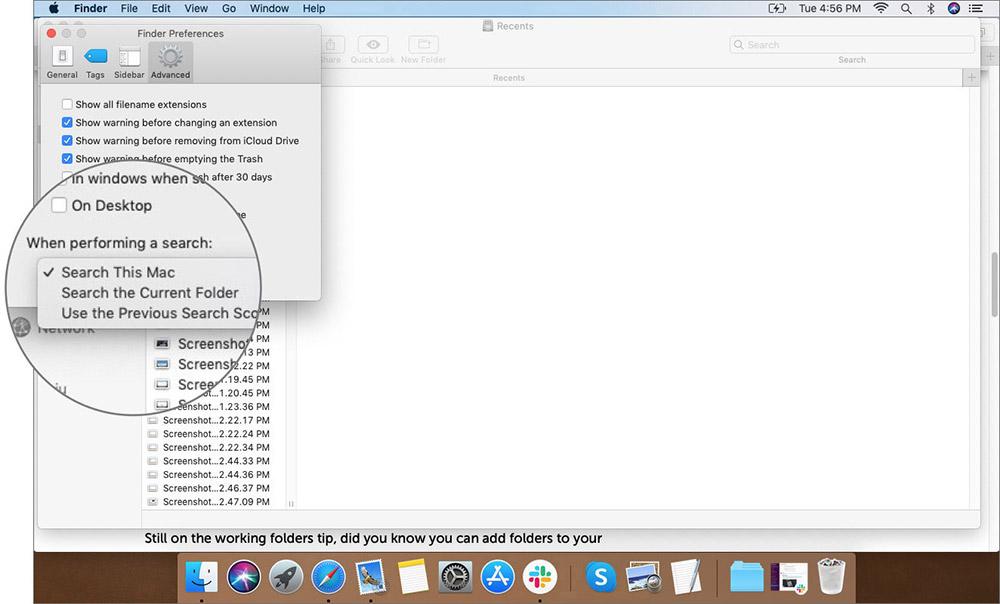 Выберите параметр на вкладке «Дополнительно» в настройках Mac Finder