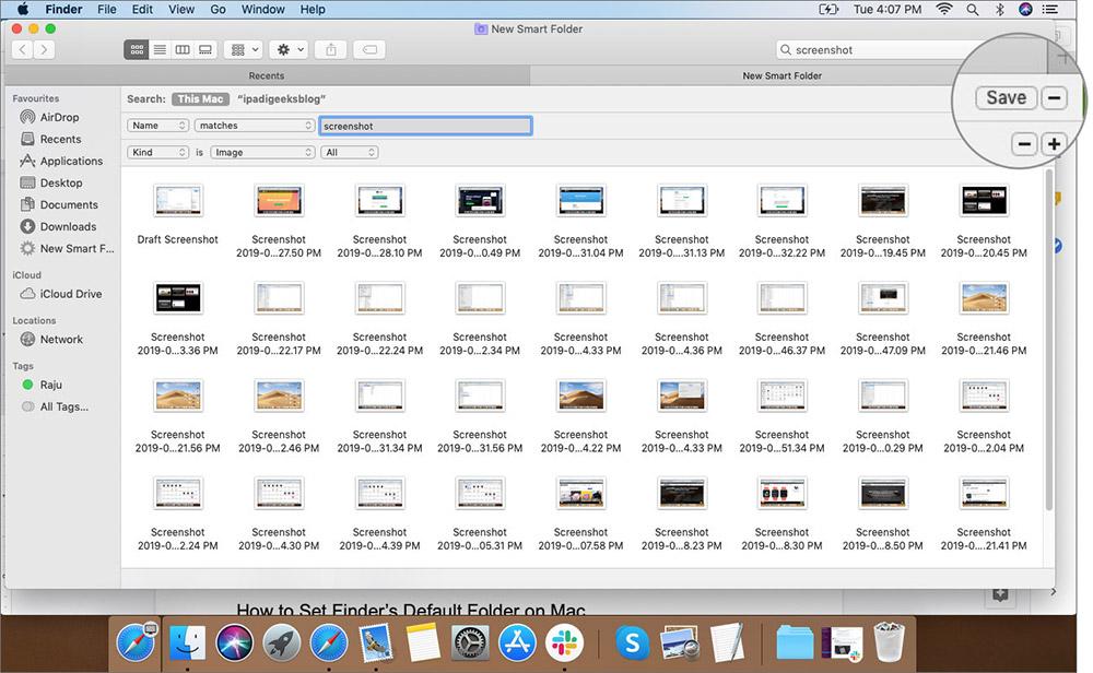 Сохранить выбранные параметры в меню файлов Finder на Mac