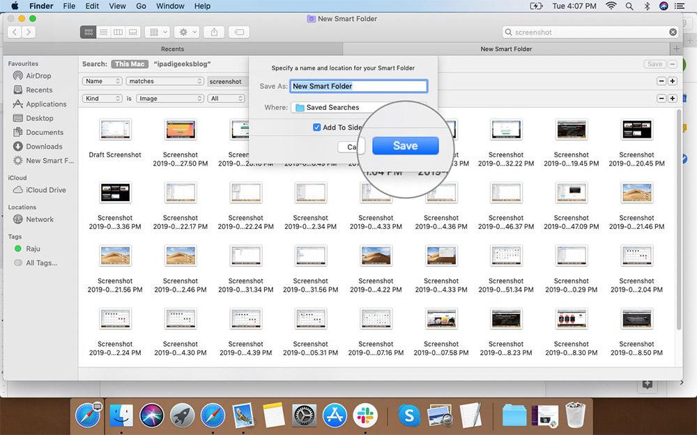 Переименование и сохранение смарт-папок в предпочтительной папке на Mac