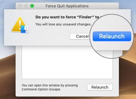 Нажмите, чтобы подтвердить Relaunch Finder в MacOS