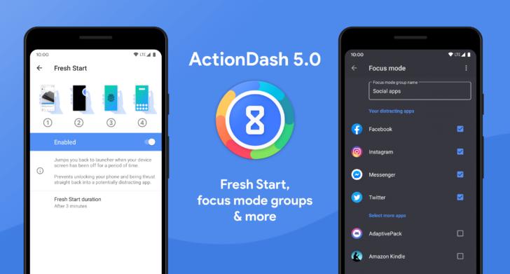 Обновление ActionDash v5.0 представляет функцию «Свежий старт» и дополнительные параметры режима фокусировки