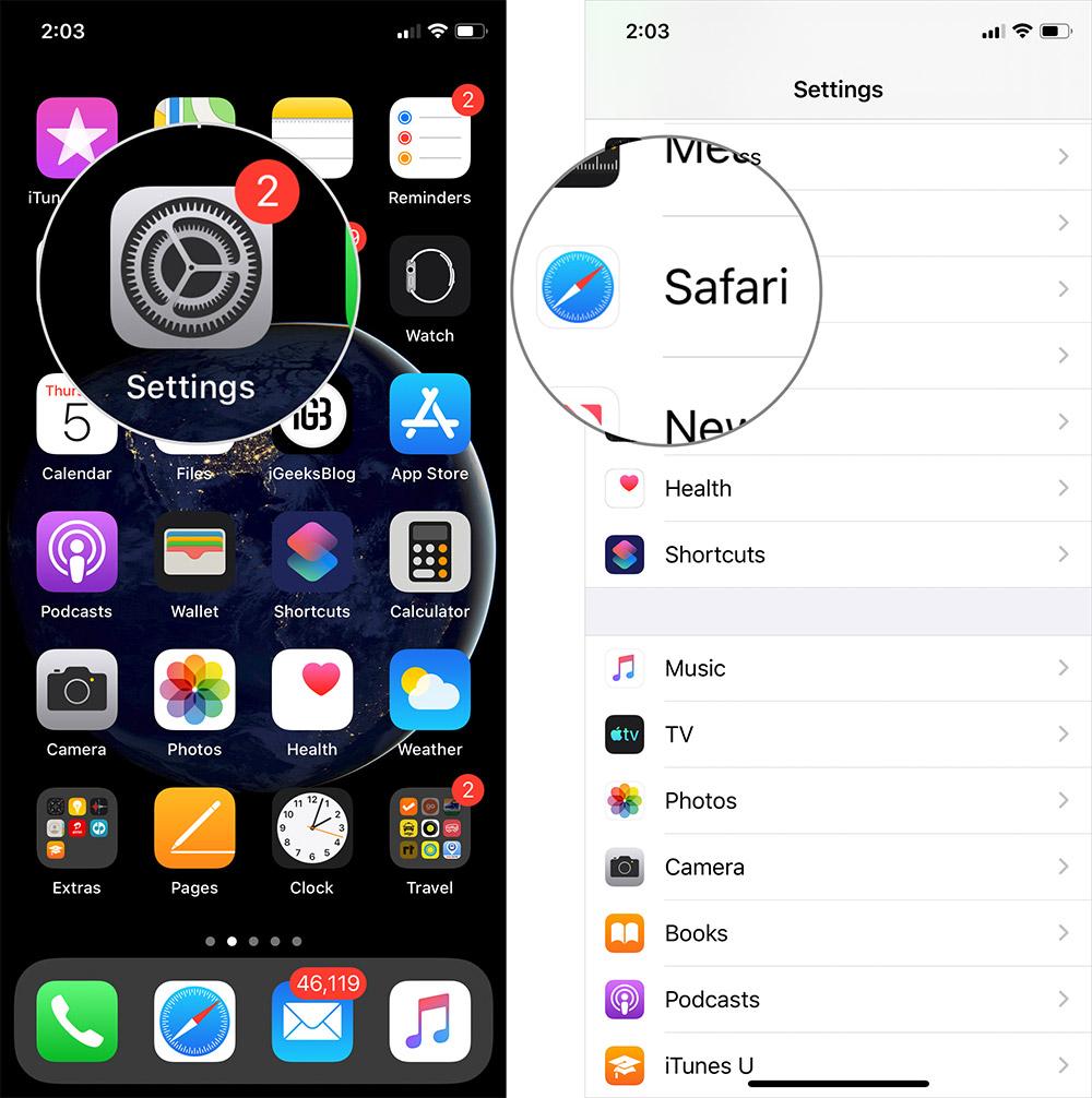 Нажмите «Настройки», затем «Safari» на iPhone или iPad.