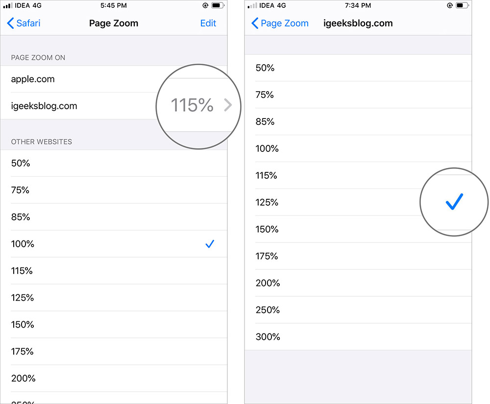 Установить размер текста для веб-сайта в приложении Safari в iOS 13