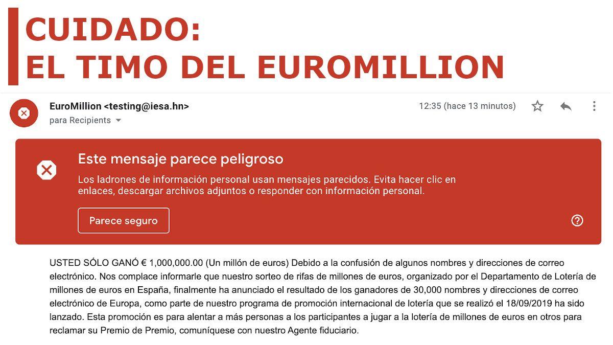 Остерегайтесь этого письма от EuroMillion, где вас поздравляют с заработком миллиона евро