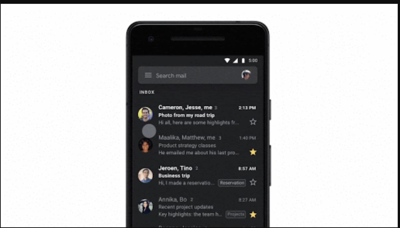 Gmail официально выпускает темную тему для устройств Android