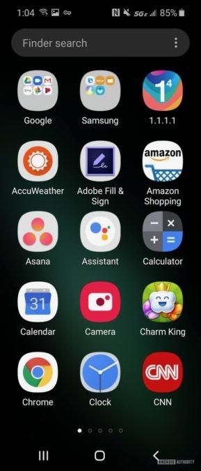 Samsung Galaxy Fold  Просмотр представления ящика приложения