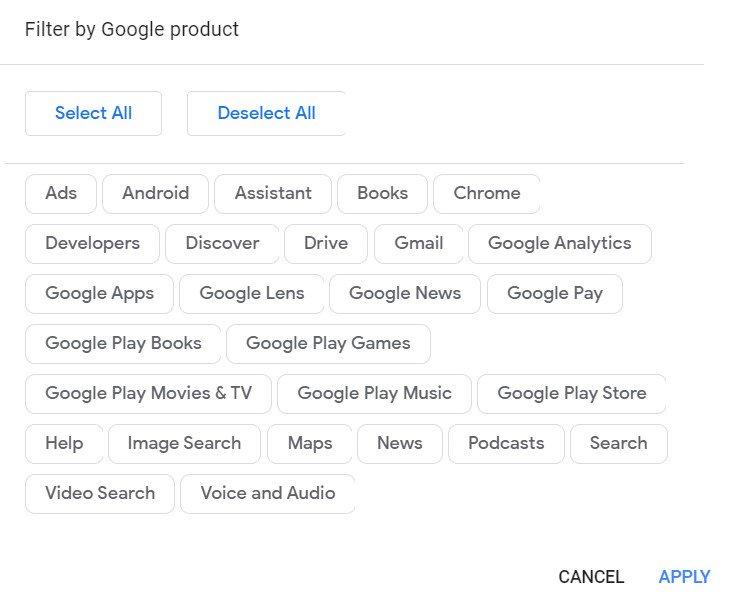 различные действия Google