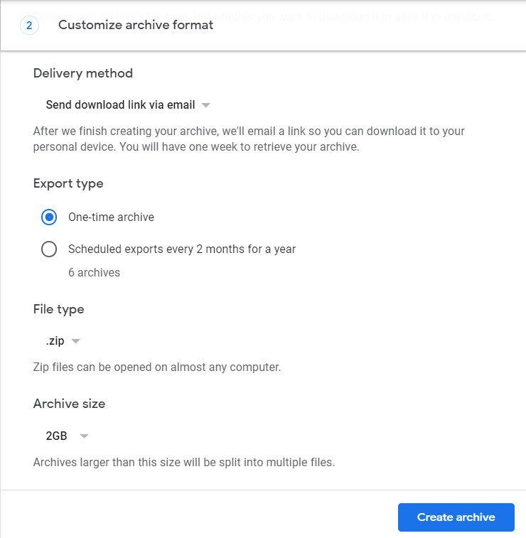 создать архив действий Google