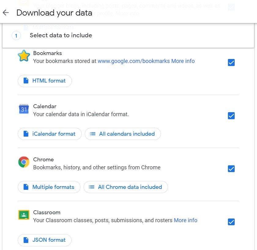 скачать данные о деятельности Google