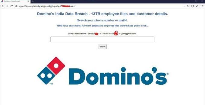 Нарушение данных Domino's India: информация о заказах за 18 кроров доступна в Dark Web