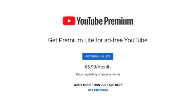 YouTube пробные версии дешевле уровня Premium Lite без YouTube Музыка 347